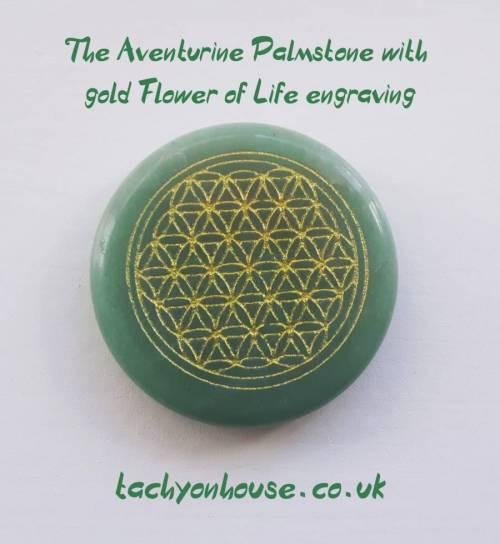 Tachyon Aventurine Palmstone with gold Flower of Life engraving - Bild vergrößern