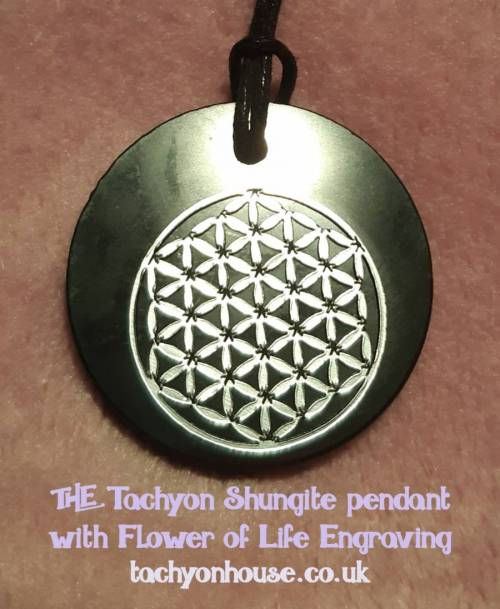 Tachyon Shungite Pendant with Flower of Life Engraving - Bild vergrößern