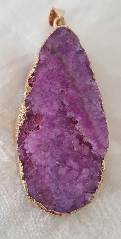 Tachyon Achat Druzy Pendant, purple