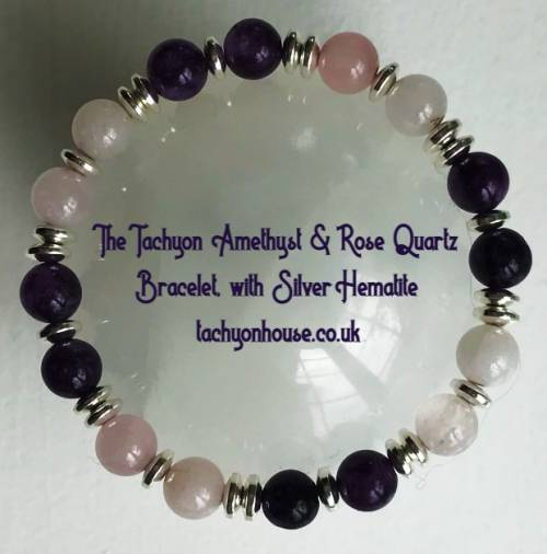 Tachyon Amethyst Rose Quartz Bracelet with Silver Hematite - Bild vergrößern